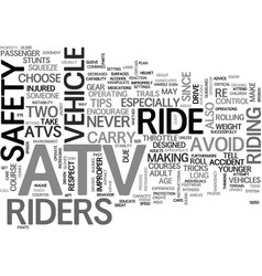 Atv safety tips text word cloud concept vector