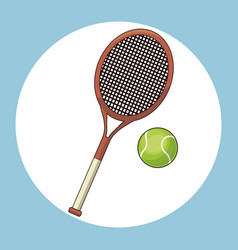 ball and racket tennis vector image