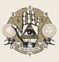 Banner with all seeing eye symbol on an open palm vector