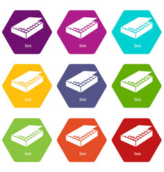 box icons set 9 vector image