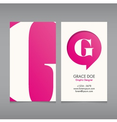 Business card template letter G vector