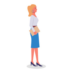 Businesswoman standing at full height holding vector