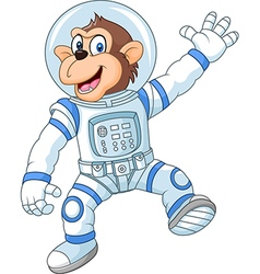 Cartoon funny monkey wearing astronaut costume vector image