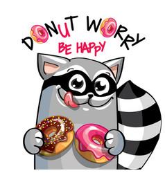 Cartoon raccoon with donuts vector