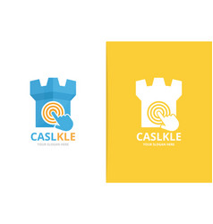 castle and click logo combination tower vector image
