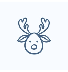 Christmas deer sketch icon vector image