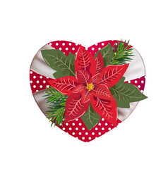 christmas red flower poinsetia on gift box in form vector image