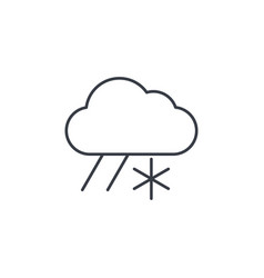 cloud weather snow and rain thin line icon vector image