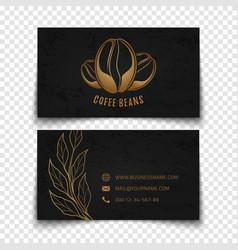 Coffee beans logo design black busies card vector