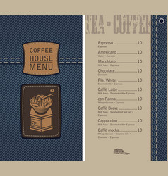 Coffee house menu on denim background with price vector