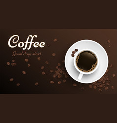 coffee top view cup realistic cup and coffee vector image