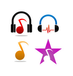 collection of music logo and icon design vector image
