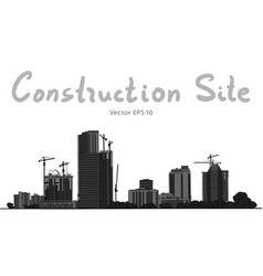 construction and tower cranes city vector image