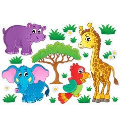 cute african animals collection 1 vector image
