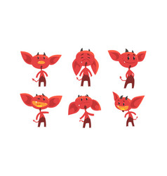 cute red devil with various emotions and actions vector image