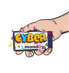 Cyber monday man hand pop art hold phone vector