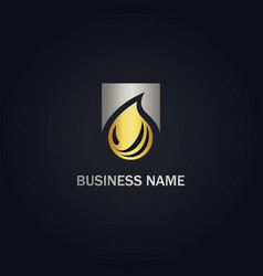 Droplet water bio gold logo vector