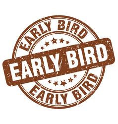 Early bird brown grunge stamp vector
