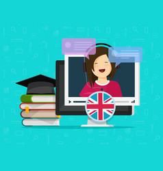 english language video online distance learning on vector image