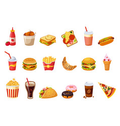 Fast food items set vector