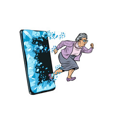 Female retired lady and new technology concept vector