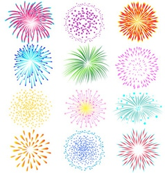 Fireworks set on white background vector image