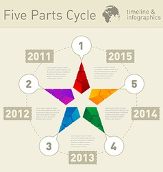 Five parts infographic timeline design template vector