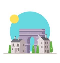 flat design arc de triomphe france with village vector image