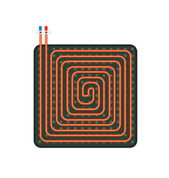 Floor heater scheme icon flat style vector