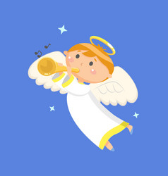 flying angel playing trumpet sounding boy vector image
