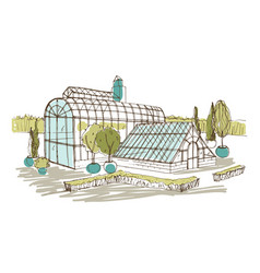 Freehand drawing of pavilion or greenhouse vector