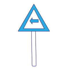 Full color triangle metal notice with turn left vector