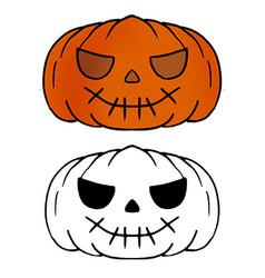 Funny hand drawn halloween pumpkin isolated vector