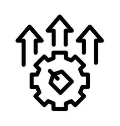 Gear arrows label icon outline vector