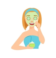 Girl Applying Natural Cucumber Cream Facial Mask vector image