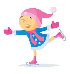 girl skating cartoon character winter vector image
