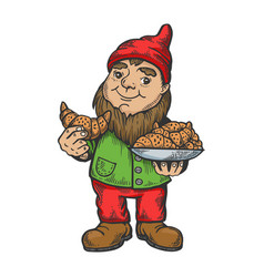 gnome with croissant sketch engraving vector image