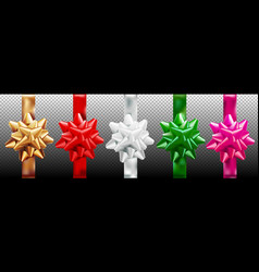 golden red silver green pink gift bow set vector image