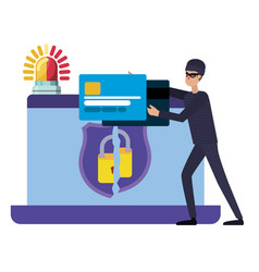 hacker stealing information avatar character vector image