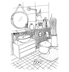 Hand drawn modern bathroom interior design vector
