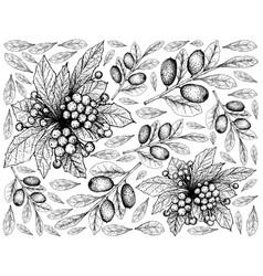 Hand drawn of christmas berries and elaeagnus ebbi vector