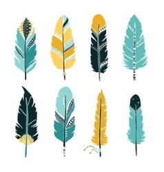 Hand drawn set of feathers vector image
