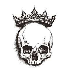 Hand drawn sketch skull with crown tattoo line art vector
