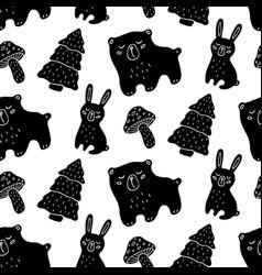 hand drawn wood animals seamless pattern vector image