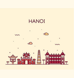 Hanoi skyline vietnam linear style city vector