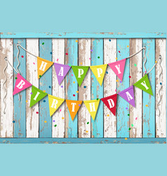 Happy birthday wooden background with flags vector