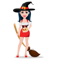 Happy halloween sexy witch in beautiful dress vector