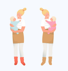 happy mother day character design young woman vector image