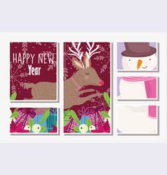 happy new year snowman and deer gift boxes flowers vector image