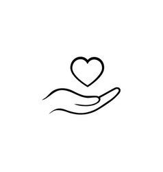 heart in hand line icon on white background vector image